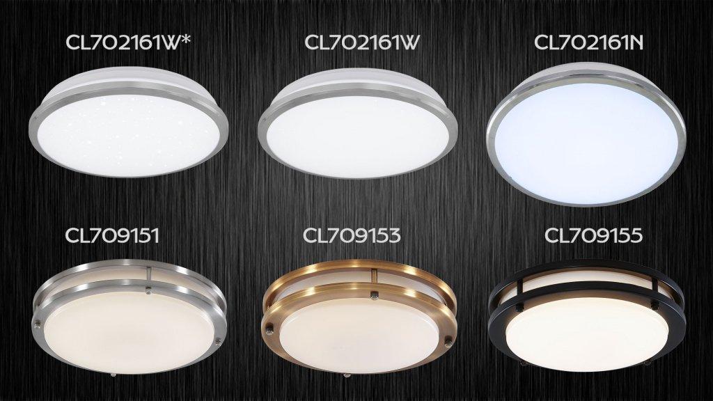 Citilux Луна - 702161W(тёплый, 3000К, свет), 702161N(холодный, 4100К, нейтральный свет) и 702161W*. Citilux Дункан - 709151(матовый хром), 709153(бронза) и 709155(венге),