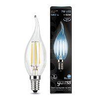 Лампа (LED) Светодиодная Gauss 7W E14 4100K  Filament Candle tailed 104801207