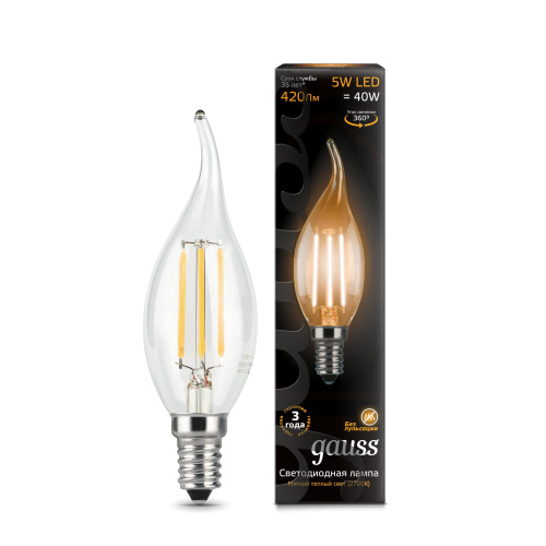 Лампа (LED) Светодиодная Gauss  E14 2700K Filament Candle tailed dimmable 104801105-D