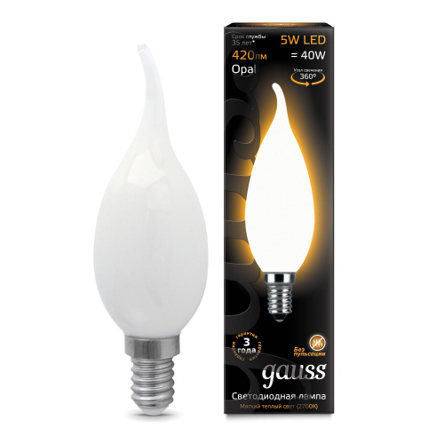 Лампа (LED) Светодиодная Gauss  E14 2700K Filament Candle Tailed OPAL 104201105